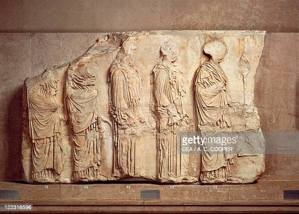 Greek civilization 5th century bC Pentelic marble east frieze of the Parthenon by Phidias Basrelief depicting procession of women carrying...