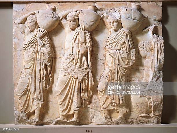 Greek civilization 5th century bC Pentelic marble frieze of the Parthenon by Phidias Basrelief depicting procession of people bearing amphoras 445438...