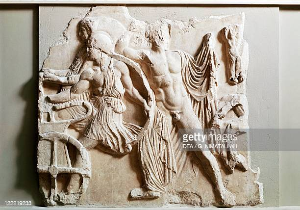 Greek civilization 5th century bC Phidias basrelief frieze on the north side of the Parthenon Pentelic marble 447440 bC