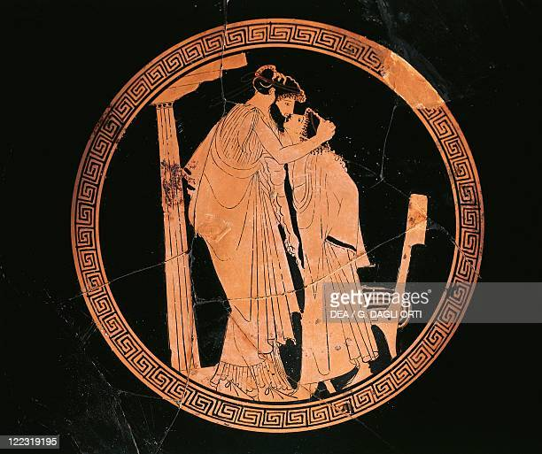 Greek civilization 5th century bC Redfigure pottery Attic cup attributed to the Briseis Painter Interior depicting a man with an ephebe