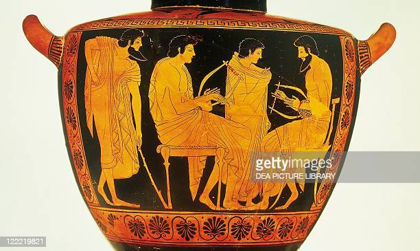 Greek civilization 5th century bC Redfigure pottery Attic hydria by Phintias portraying a music lesson