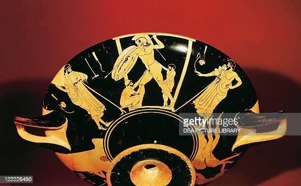 Greek civilization 5th century bC Redfigure pottery Attic kylix depicting a foundry
