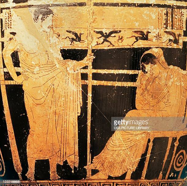 Greek civilization 5th century bC Redfigure pottery Attic skyphos by the painter of Thelemacus portraying Penelope and Telemachus