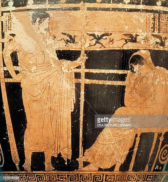 Greek civilization, 5th century b.C. Red-figure pottery. Attic skyphos by the Telemachus Painter depicting Penelope and her son Telemachus at Ithaca...