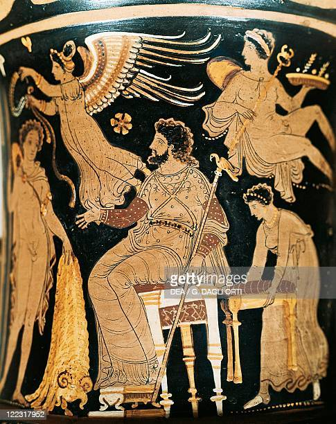 Greek civilization 5th century bC Redfigure pottery Calyx krater by the Underworld Painter Side A depicting Jason bringing Pelias the Golden Fleece...