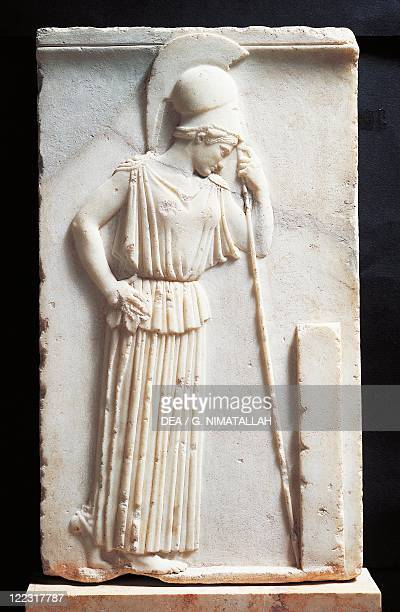 Greek civilization 5th century bC Relief depicting mourning Athena standing before a stele