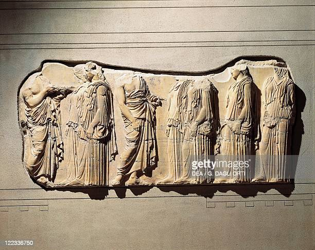 Greek civilization 5th century bC The Ergastine fragment of the Parthenon east frieze by Phidias marble 96x207 cm