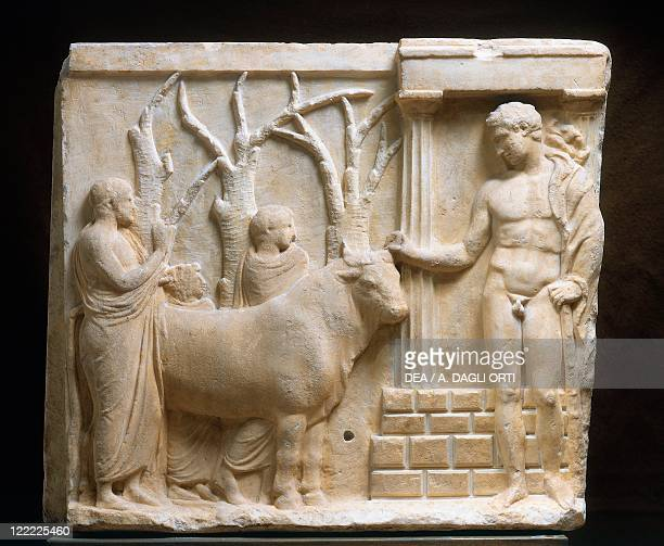 Greek civilization, 5th century b.C. Votive relief with scene of bull sacrifice to Heracles.