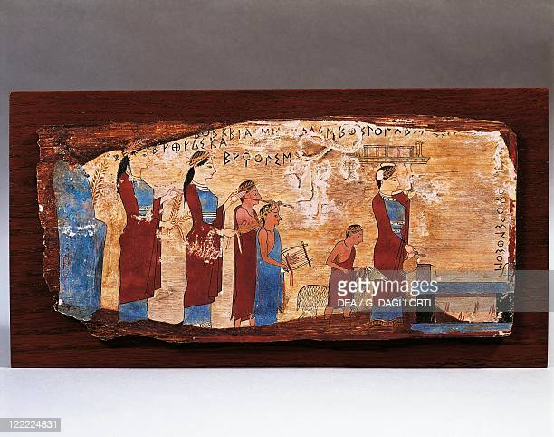 Greek civilization 6th century bC 520500 aC Painted wooden tablet 520500 bC From Pitsa