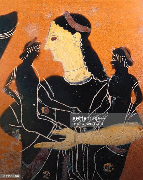 Greek civilization 6th century bC Blackfigure pottery Amphora by the Towry Whyte Painter Detail Aphrodite holding Himeros and Eros in her arms