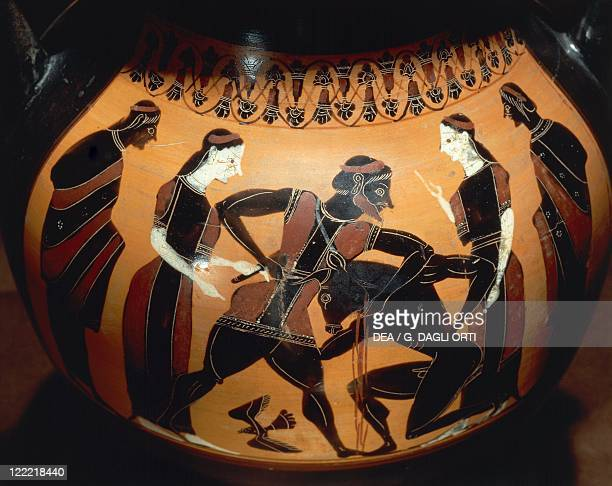 Greek civilization 6th century bC Blackfigure pottery Amphora depicting Theseus fighting Minotaur attributed to the Painter of the Birth of Athena...