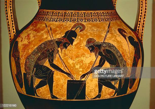Greek civilization 6th century bC Blackfigure pottery Attic vase of Exekias depicting Achilles and Ajax playing dice Detail