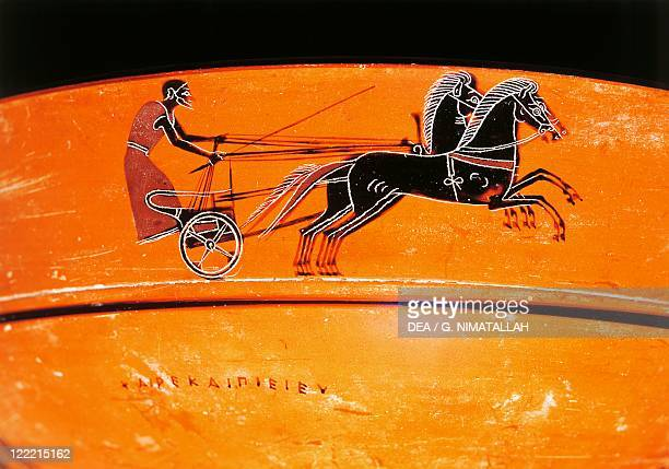 Greek civilization 6th century bC Blackfigure pottery Attic vessel depicting charioteer 550530 bC Detail