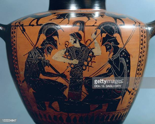 Greek civilization 6th century bC Blackfigure pottery Hydria by Euphiletos Painter depicting Achilles and Ajax playing dice before Athena circa 520...