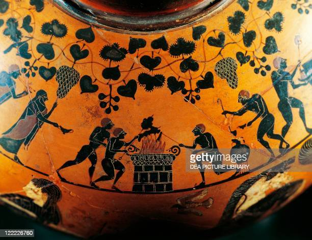 Greek civilization 6th century bC Blackfigure pottery Ionic hydria from Cerveteri ancient Caere Rome Province Detail