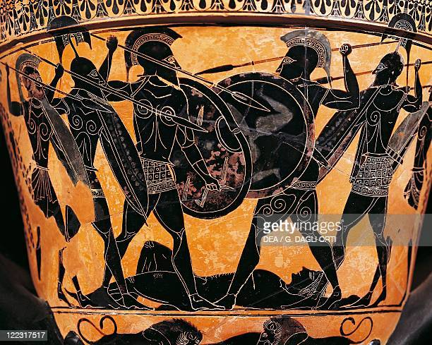 Greek civilization 6th century bC Blackfigure pottery Krater depicting the fight for the body of Patroclus From Farsala Greece Detail