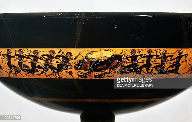 Greek civilization 6th century bC Blackfigure pottery Kylix attributed to potters Archikles and Glaukytes depicting a scene of Calydonian boar hunting