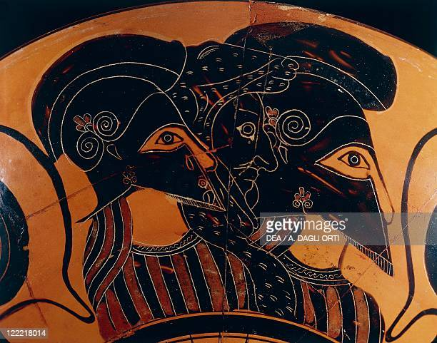 Greek civilization 6th century bC Blackfigure vase Detail three warriors with helmets