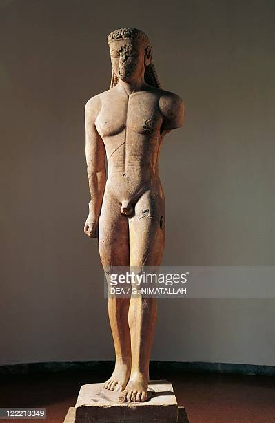 Greek civilization 6th century bC Colossal marble statue of kouros 600 bC From Cape Sounion Greece