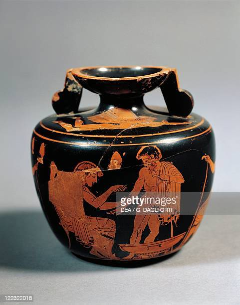 Greek civilization, 6th century b.C. Red-figure pottery. An aryballos with depictions of blood-letting.