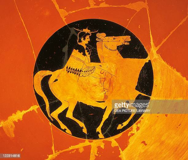 Greek civilization 6th century bC Redfigure pottery Kylix by Euphronios decorated with a knight