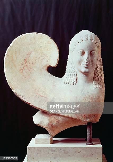 Greek civilization 6th century BC Statue of winged sphinx