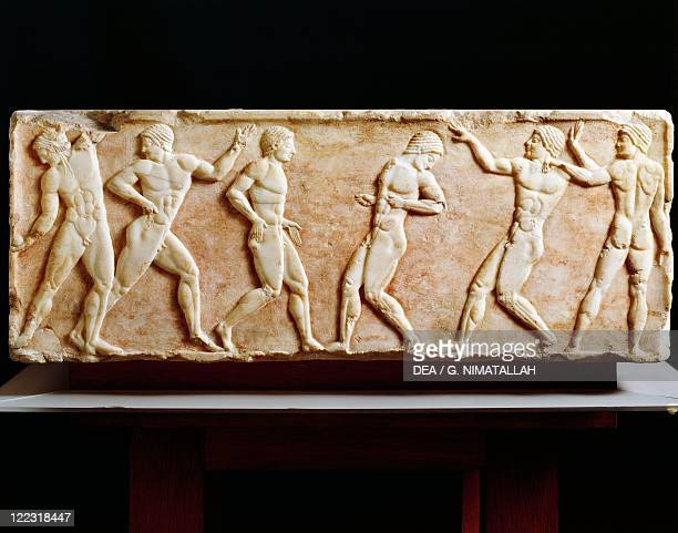 Greek Civilization 6th century bC Stele depicting athletes at the gymnasium 510 bC From the Kerameikos necropolis in Athens Greece