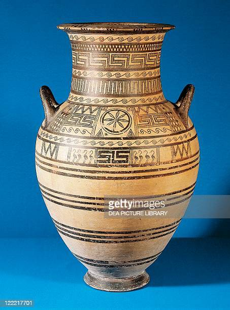 Greek civilization 8th century bC Geometric ceramic Geometric Attic amphora from Thera Island