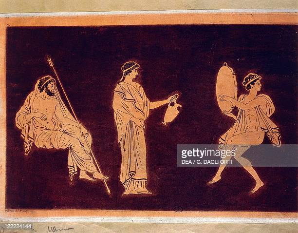 Greek civilization Dance and libation scene before Dionysus Drawing from a redfigure vase