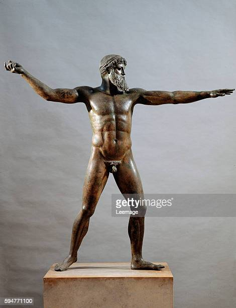 statue of Zeus or Poseidon Bronze sculpture from Cape Artemision by Kalamis 460 BC National Archeological Museum Athens