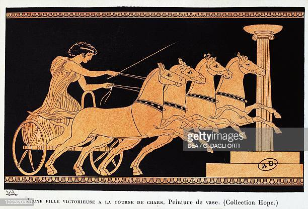Greek civilization Young woman winning the chariot race Drawing from a redfigure vase