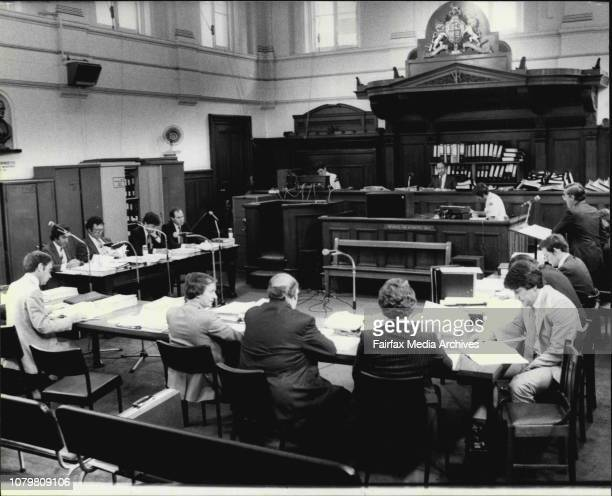 Greek conspiracy trail at central courts Liverpool St CityJudge Brown surrounded by transcripts of the trail general scenes Lawyers etc November 24...