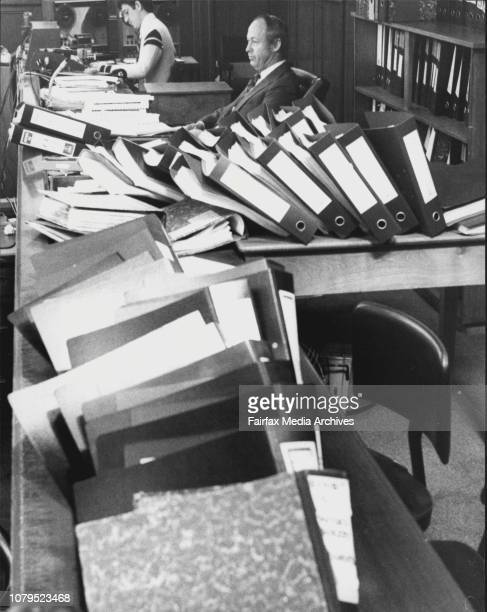Greek Conspiracy Trial At Central Courts Liverpool St CityPic Shows Judge Brown Surrounded by Transcripts of the Trial General Scenes Lawyers Etc...
