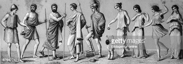 from left 1 chiton 2 exomis 3/4 himation 5 chlamys 6 children's dress 7/8 women's chiton 9 doric chiton 10 double chiton historical illustration