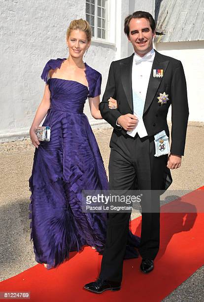 24 Greek Crown Prince Pavlos and wife MarieChantal arrive to attend the wedding between Prince Joachim of Denmark and Marie Cavallier on May 24 2008...