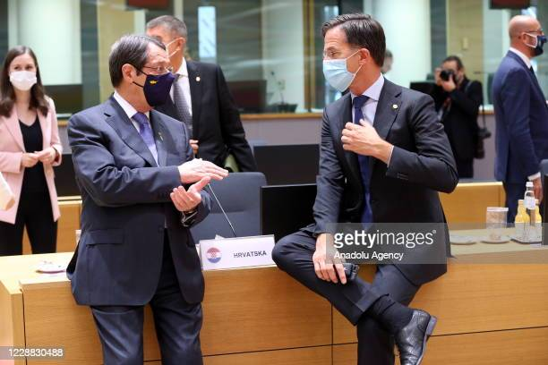 Greek Cypriot Administration Nikos Anastasiadis and Dutch Prime Minister, Mark Rutte attend the European Union Leaders' Summit in Brussels, Belgium...