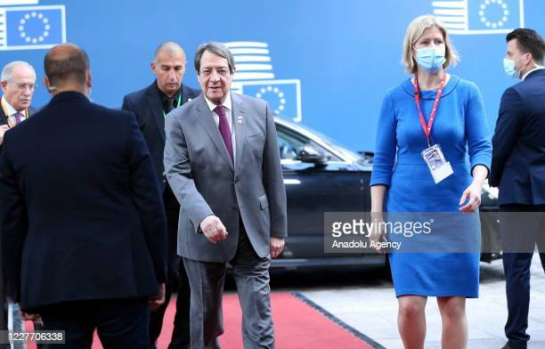 Greek Cypriot leader Nicos Anastasiades arrives to attend the fourth day of an EU summit in Brussels Belgium on July 20 2020 Leaders of the EU member...