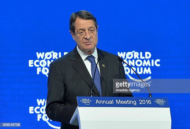 Greek Cypriot leader Nicos Anastasiades delivers a speech during the World Economic Forum in Davos, Switzerland on January 21, 2016.