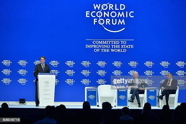 Greek Cypriot leader Nicos Anastasiades delivers a speech during the World Economic Forum in Davos Switzerland on January 21 2016