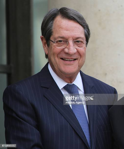 Greek Cypriot Leader Nikos Anastasiadis is seen during an official welcome ceremony prior to his meeting with French President Francois Hollande at...