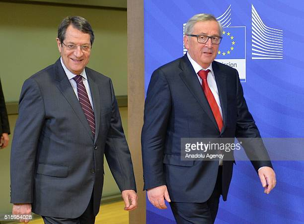 Greek Cypriot leader Nikos Anastasiadis meets President of the European Commission Jean-Claude Juncker in Brussels, Belgium on March 16, 2016.