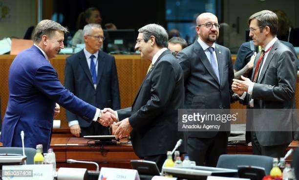 Greek Cypriot leader Nikos Anastasiadis Prime Minister of Latvia Maris Kacinskis and Prime Minister of Belgium Charles Michel attend the European...