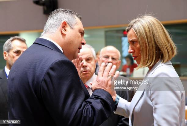 Greek Defence Minister Panos Kammenos and High Representative of the European Union for Foreign Affairs and Security Policy Federica Mogherini attend...