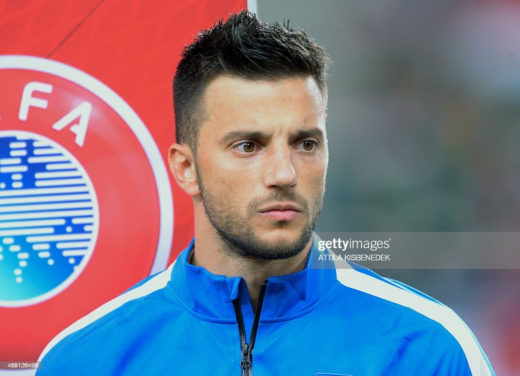 Greek defender Kostas Manolas is seen prior to a Euro 2016 qualifying football match between Hungary and Greece at the Grupama Arena in Budapest on March 29, 2015.