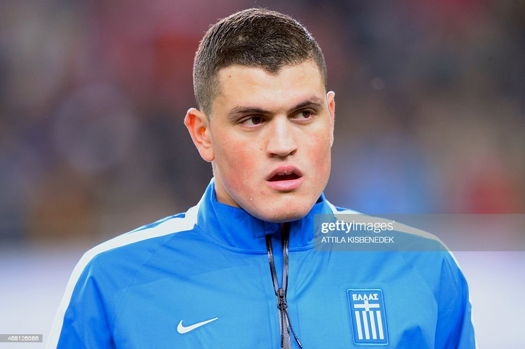 Greek defender Kyriakos Papadopoulosis seen prior to a Euro 2016 qualifying football match between Hungary and Greece at the Grupama Arena in Budapest on March 29, 2015 .