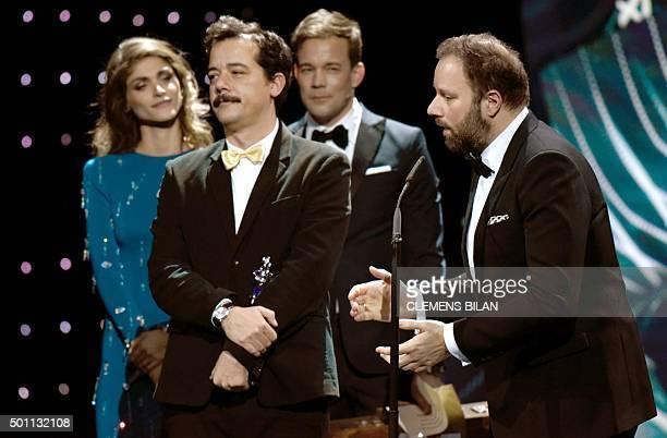 Greek director Yorgos Lanthimos and Efthimis Filippou receive the award European Screenwriter 2015 during the 28th European Film Award ceremony in...