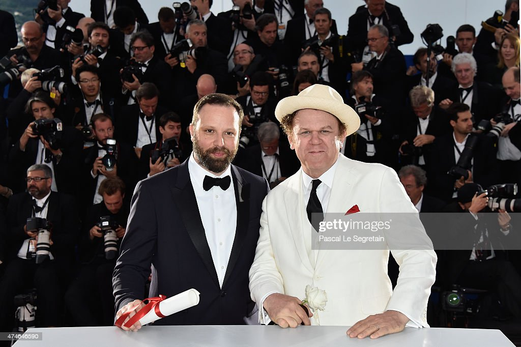 Greek director Yorgos Lanthimos poses at the photocall with John C. Reilly after being awarded with the Jury prize during the 68th annual Cannes Film Festival on May 24, 2015 in Cannes, France.