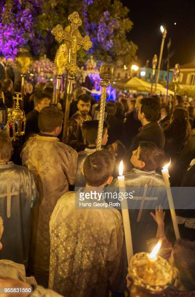 greek easter, good friday mass and parades in lixouri - greek orthodox easter stock pictures, royalty-free photos & images