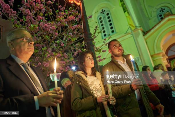 greek easter, mass and parades on the big saturday - greek orthodox easter stock pictures, royalty-free photos & images