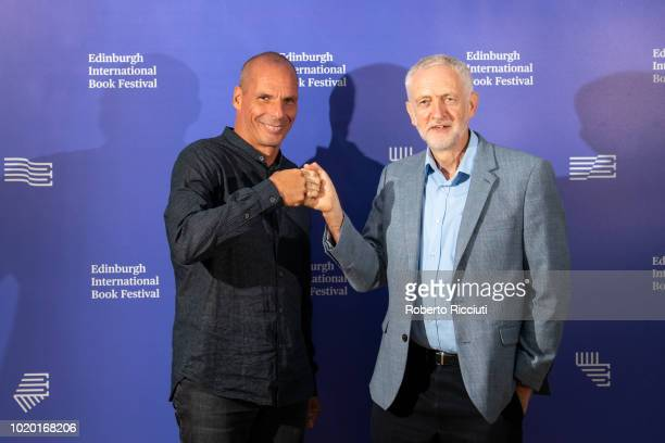 Greek economist academic and politician Yanis Varoufakis and Labour leader Jeremy Corbyn Jeremy Corbyn attend a photocall during the annual Edinburgh...